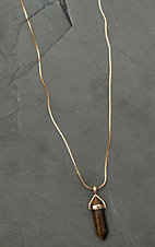 Amber's Allie Gold with Brown Crystal Pendant Necklace