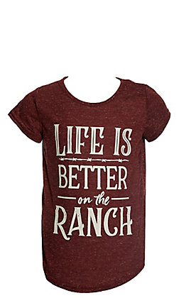 Daisy Rae Girls Heather Maroon Life Is Better On The Ranch Short Sleeve Tee