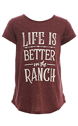 Southern Grace Girl's Maroon Life is Better at the Ranch T-Shirt
