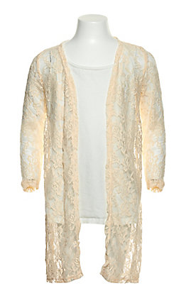 Grace & Emma Girl's Off White Lace Duster