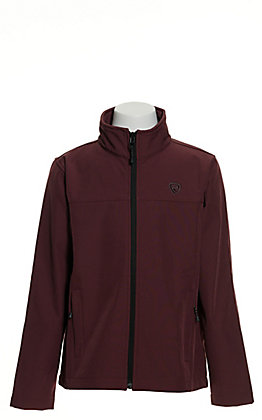 Powder River Outfitters by Panhandle Girls' Maroon Logo Softshell Jacket