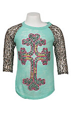 Southern Grace Girl's Teal Burnout with Pink and Cheetah Cross and Cheetah Print Lace 3/4 Sleeves Casual Knit Shirt