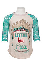Southern Grace Girl's Cream Little But Fierce with Teal Lace 3/4 Sleeves Casual Knit Shirt