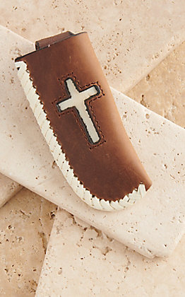 Cowboy Chrome Brown Leather With Cream Cross Inlay Knife Sheath