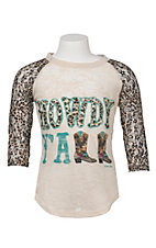 Southern Grace Girl's Cream with Howdy Y'all and Cheetah 3/4 Sleeves Casual Knit Top