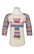 Southern Grace Girl's Tan with Multi Colored Cross and Multi Colored 3/4 Sleeves Casual Knit Top