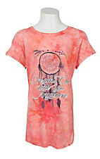 Southern Grace Girl's Orange Tie Dye with Dreams Can Take You Anywhere Screen Print Short Sleeve Casual Knit Top