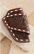 Cowboy Chrome Chocolate Floral with White Buck Stitch Side Knife Sheath