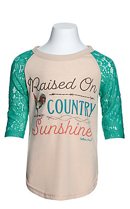 Southern Grace Girl's Cream Raised on Country Sunshine with 3/4 Turquoise Lace Sleeves Tee