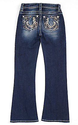 Miss Me Girls' Sequin Horseshoe Embroidered Pocket Boot Cut Jeans