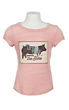 Southern Grace Girls Pink Little Piggy Short Sleeve Shirt