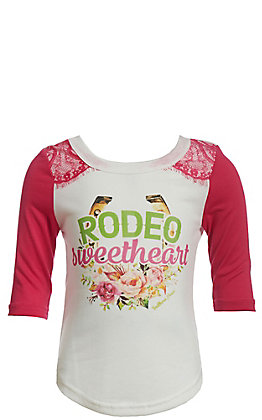 Southern Grace Girls' White And Pink Rodeo Sweetheart 3/4 Sleeve Top