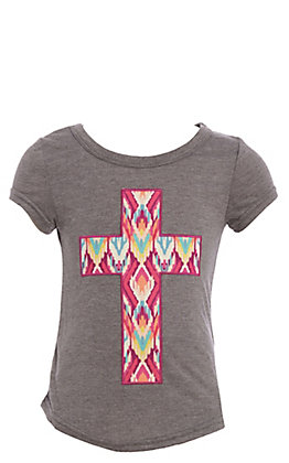 Southern Grace Girls Fuchsia Aztec Cross On Grey Top