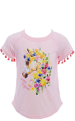 Southern Grace Girls' Pink Wild & Free Unicorn Short Sleeve Tee