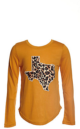 Southern Grace Girls' Mustard with Leopard Texas Patch Long Sleeve Tee