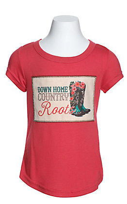 Southern Grace Girls' Coral Down Home Country Roots Short Sleeve Tee