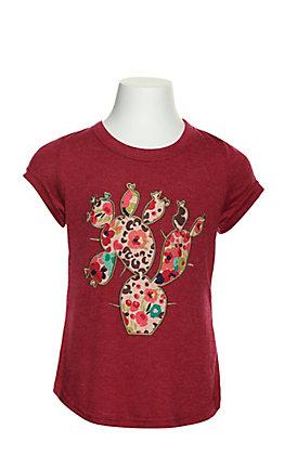 Southern Grace Girls Fucshia Cactus Applique T-shirt