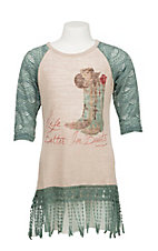 Southern Grace Girl's Cream with Life is Better in Boots Screen Print and Turquoise 3/4 Sleeves Casual Knit Top