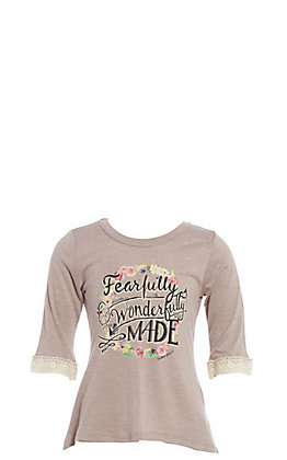Southern Grace Girls Beige Fearfully Wonderfully Made Top