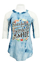 Southern Grace Girl's Blue Tie Dye with Fearfully and Wonderfully Made Screen Print with Lace 3/4 Sleeves Casual Knit Top