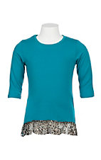Grace & Emma Girls Teal 3/4 Sleeve w/ Cheetah Lace Hem Shirt
