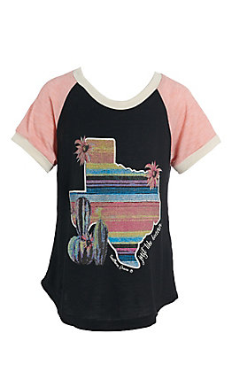 Southern Grace Girls Black and Pink with Texas Serape Cactus Design T-Shirt