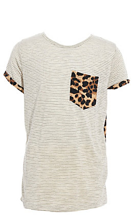 Grace & Emma Girls' Cream Striped & Leopard Fashion Top
