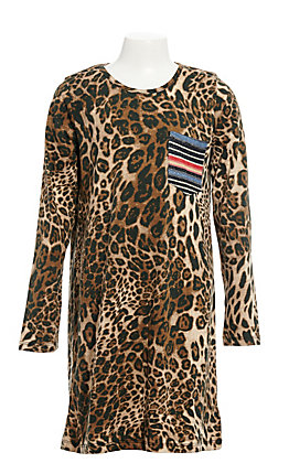 Grace & Emma Girls' Leopard Print Long Sleeve Dress