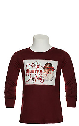 Southern Grace Girl's Maroon Merry Country Christmas Patch Long Sleeve Tee