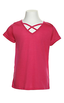 Grace & Emma Girl's Hot Pink Criss-Cross V-Neck Tee