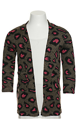 Grace & Emma Girl's Grey with Black and Pink Leopard Print Long Sleeve Cardigan