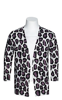 Grace & Emma Girls' White with Black and Purple Leopard Print Long Sleeve Cardigan