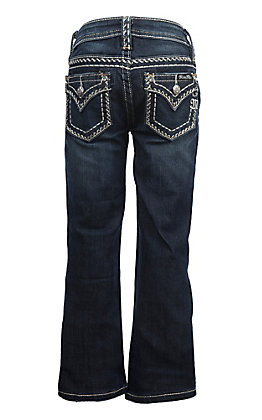 Miss Me Girls Zigzag Flap Pocket Boot Cut Jeans