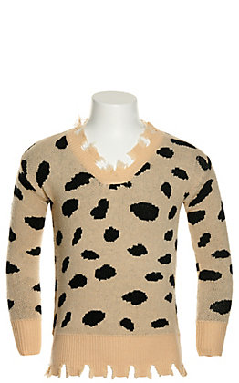 Grace & Emma Girl's Tan with Black Leopard Print Distressed Long Sleeve Sweater