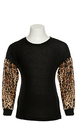 Grace & Emma Girls' Black Waffle Knit with Sheer Leopard Print Long Balloon Sleeves Top