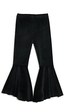 Grace & Emma Girls' Black Velvet Flare Leg Pants