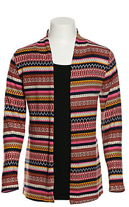 Grace & Emma Girls' Mustard, Pink and Navy Multi Stripe Long Sleeve Cardigan