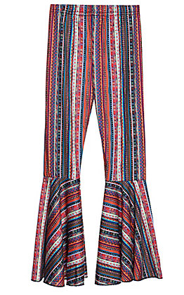 Grace & Emma Girls' Multi Stripe Print Flare Leg Pants