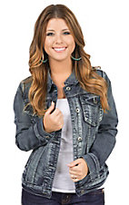 Ethyl Women's Medium Wash Long Sleeve Denim Jacket