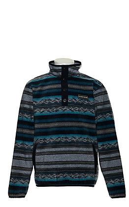 Cinch Boys' Blue, Black and Grey Aztec Fleece Pullover Jacket