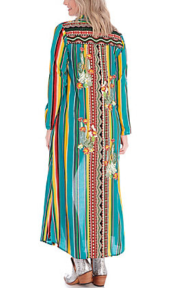 April Sky Women's Turquoise Serape with Cactus Embroidery Duster