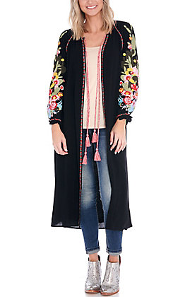April Sky Women's Black with a Floral Cactus Embroidery Duster