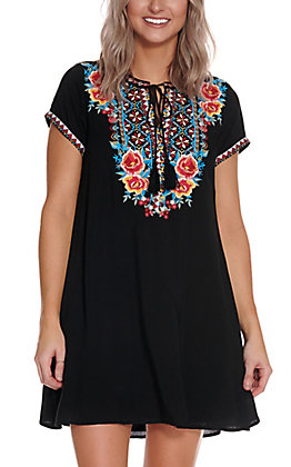 Savanna Jane Women's Black with Multi Colored Floral Embroidery Short Sleeve Dress