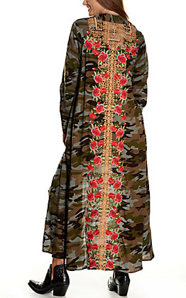 Savanna Jane Women's Camo Print with Floral Embroidery and Pockets Duster Kimono