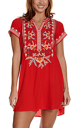 Savanna Jane Women's Tomato Red with Multi-Colored Embroidery V-Neck Short Sleeve Dress