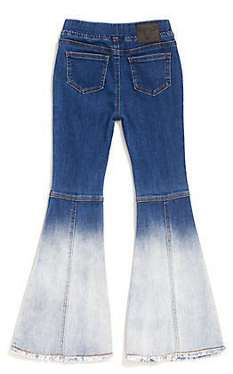 Lucky & Blessed Girl's Bleached Flare Frayed Hem Pull On Jeans