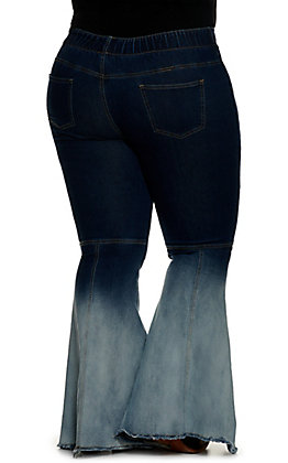 Lucky and Blessed Women's Dark Wash to Bleached Wash Pull On Flare Jeans - Plus Size