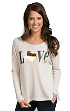 Karlie Women's White Texas Love Sweater Top