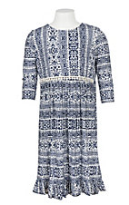 James C Girls Blue and White 3/4 Sleeve Ruffle Dress