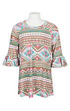 James C Girls Pink, Tan and Turquoise Aztec Print Ruffle Sleeve Shirt